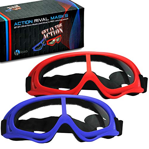 Kiloxa Safety Glasses for Kids - 2-Pack Red/Blue Safety Goggles Provide The Ultimate Eye Protection for Your Kids - Perfect Anti Fog Rival Face Masks for Nerf Rival Games