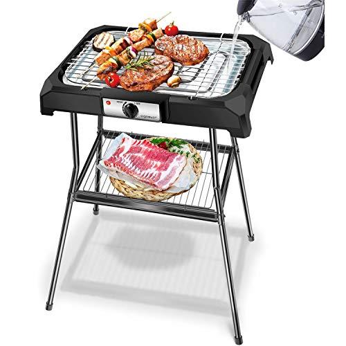 Aigostar Lava Pro - Grill électrique barbecue avec support amovible. 2000W. Pour intérieur et extérieur, sans odeurs ni fumée. Antiadhérant, nettoyage facile.