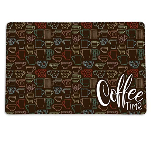 Coffee Time Placemat for your Coffee Maker or Espresso Machine. 12' x 18' Washable Coffee Decor Mat for your Coffee Station
