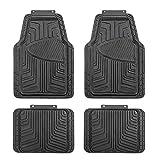 AmazonBasics 4-Piece All-Season Odorless Rubber Floor Mat for Cars, SUVs and Trucks, Black