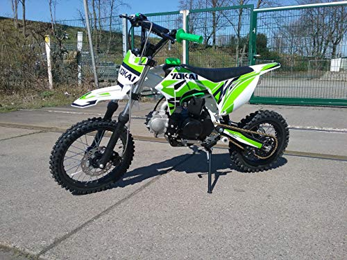 "125cc Dirtbike Yokai 14""/12\"" 4-Gang Kick-Start Crossbike Pocketbike Pitbike Bike ATV (Grün)"