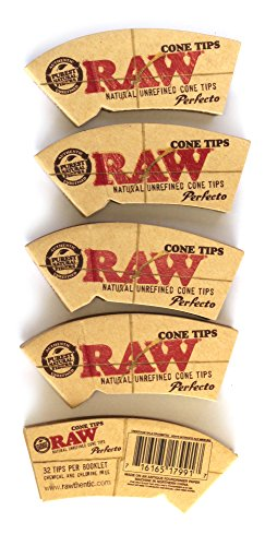 5 x RAW Natural Rolling Cone TIPS - 32 tips per booklet (total 160 tips) by RAW