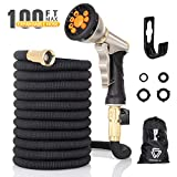 Vigorun 100 ft Expandable Garden Hose with 9 Spray Nozzle, Leakproof Durable Flexible Garden Water Hose with Solid Brass Connector for Gardening Car Washing Pet Bathing (100ft)