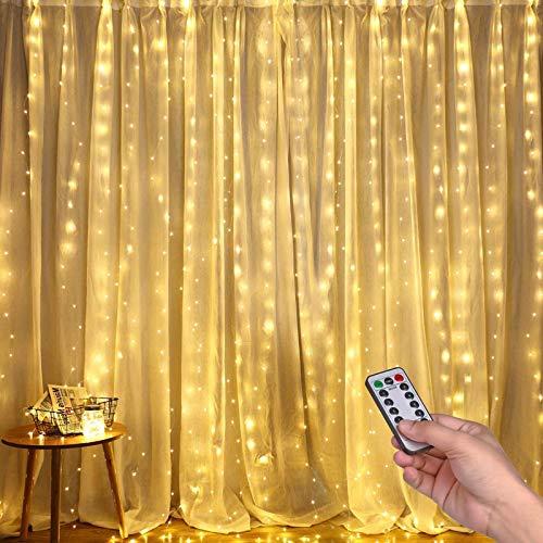 Luci per Tende a LED, DazSpirit Tenda luminosa Luci Cascata per Finestra, 3M x 3M 300LEDs USB 8 Modalit e Resistenza all'acqua - Per Esterni, Interni, Natale, Camera da Letto, Giardino e Soffitto