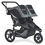 BOB Gear Revolution Flex 3.0 Duallie Double Jogging Stroller, Lunar Black | Ultra-Reflective Fabric + Smooth Ride Suspension + Easy Fold + Adjustable Handlebar [New Logo] (U231950)