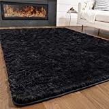 GORILLA GRIP Original Premium Fluffy Area Rug, 4x6 Feet, Super Soft High Pile Shag Carpet, Washer and Dryer Safe, Modern Rugs for Floor, Luxury Home Carpets for Nursery, Bed and Living Room, Jet Black