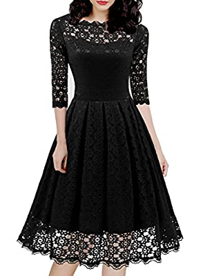 "Hand wash only, please use steam ironing the dress before you wear it. Design: Full lace overlay. zipper closure, 1950s style vintage elegant, It is very soft and comfortable. Amazon SIZE chart is not our size.!!! please refer to the ""Product Descrip..."