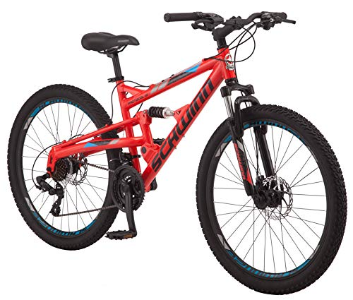 Product Image 1: Schwinn Protocol 1.0 Mens and Womesn Mountain Bike, 26-Inch Wheels, 24-Speed Drivetrain, Lightweight Aluminum Frame, Full Suspension, Red/Blue