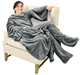 Catalonia Wearable Fleece Blanket with Sleeves and Foot Pockets for Adult Women Men,Micro Plush Comfy Wrap Sleeved Throw Blanket Robe Large,Grey