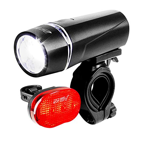 BV Bicycle Light Set, Super Bright 5 LED Headlight and 3 LED Taillight, Quick-Release, 80 Hours