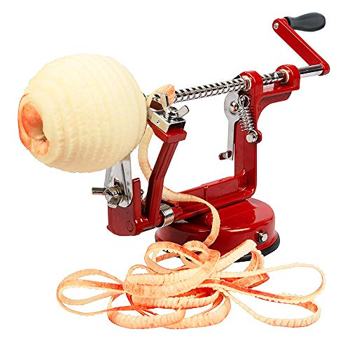 Aiky Apple Peeler Slicer and Corer Suction Base for Pear Peach Potatoes Apple Pie Cobbler Maker Red Cast Iron Body Kitchen Gadget