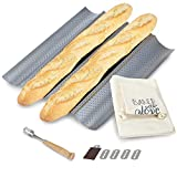 JULKYA FRENCH BREAD BAKING KIT - NONSTICK PERFORATED BAGUETTE PAN 15'X13', SOURDOUGH SCORING LAME WITH EXTRA BLADES AND A BREAD PROOFING COUCHE + BONUS BAGUETTE BAG- COMPLETE BAGUETTE MAKING KIT