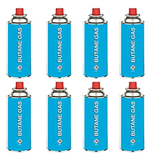 HEIMWERT Gaskartuschen Unkrautbrenner mit Piezo-Zündung | Arbeitstemperatur 1300°C | Abflammgerät für Butangas Ventilkartuschen | System MSF-1A (Nachfüllpack 8 Gaskartuschen á 227g)