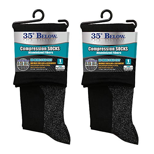 35 Below Compression Socks - As Seen On TV - 2 Pairs in Black; Size Large - 2-in-1...