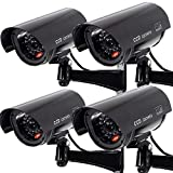 Outdoor Fake Security Camera, Dummy CCTV Surveillance System with Realistic Red Flashing Lights and...