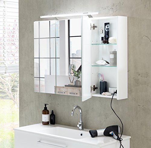 Schildmeyer Spiegelschrank, Weiß, 80 x 75 x 16 cm