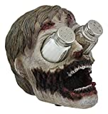 Ebros Gory Eyeless Walking Dead Zombie Head Salt and Pepper Shakers Holder...