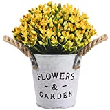 OUIVIAL Artificial Potted Plants - Medium Potted Plants Fake Plastic Flower Eucalyptus Leaves Plants with White Metal Basin for Home, Kitchen, Indoor Outdoor Decor. (Yellow Artificial Potted Plants)
