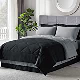 Bedsure Black Queen Bed in A Bag - 8 Pieces Reversible Bedding Sets, Bed Sets Queen with Comforter and Sheets, Bedding Comforter Sets