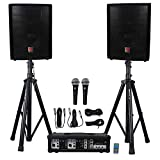 Rockville RPG2X10 Package PA System Mixer/Amp+10' Speakers+Stands+Mics+Bluetooth