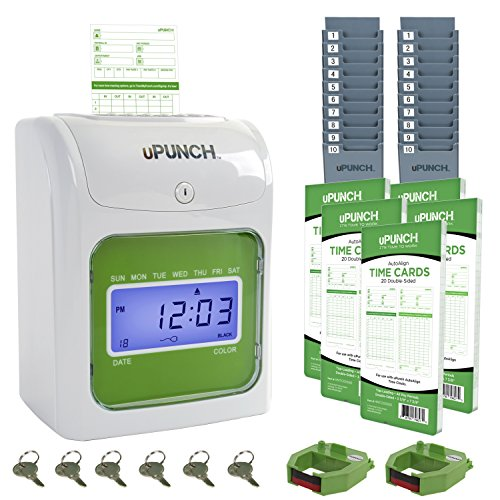 uPunch Time Clock Bundle with 100 Cards, 2 Ribbons, 2 Time...