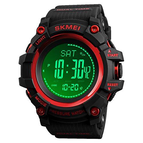 LB LIEBIG Compass Watch Army, Digital Outdoor Sports Watch for Men, Pedometer Altimeter Calories Barometer Temperature Waterproof