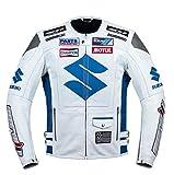 Suzuki White Motorcycle Racing Leather Jacket (XL EU56)