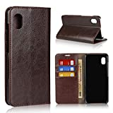 Galaxy A20 ケース 手帳型 牛床革 高級感も耐久性も高い ベルトなし 閉じたまま通話 カード収……