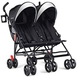 BABY JOY Double Light-Weight Stroller, Travel Foldable Design, Twin Umbrella Stroller with 5-Point Harness, Cup Holder, Sun Canopy for Baby, Toddlers