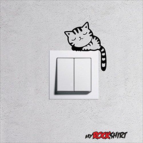"""Wandtattoo für Steckdose / Lichtschalter \"""" Katze Typ 7 \"""" viele Farben zu Auswahl, Wallart für Steckdosen Licht Wohnnzimmer Kinderzimmer, Lichtschalter Aufkleber Tattoo Sticker"""