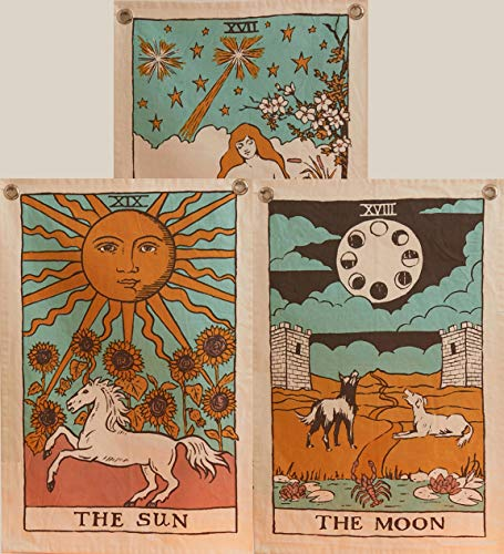 Tarot Flag Tapestry - The Sun, The Moon and The Star -...