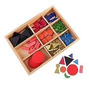 FLAMEER Montessori Spielzeug Farben und Form Wortartenschablon Holzspielzeug für Kindergarten und Kinderzimmer