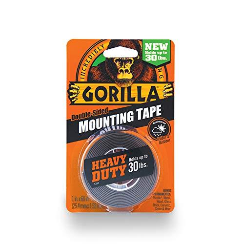Gorilla - Cinta de montaje de doble cara, resistente, 1 unidad, Negro