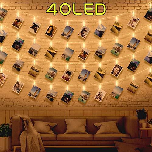 40 Luci per Foto - Lucine Led Decorative per Camere Luci Led Foto, Porta Foto Polaroid Mollette Led...