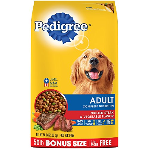 PEDIGREE Complete Nutrition Adult Dry Dog Food Grilled Steak & Vegetable Flavor Dog Kibble, 50 lb. Bag
