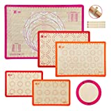 6-Piece Silicone Baking Mat Set,GUANCI 25'×17-1/2' Large Pastry Mat&2PCS Rolling Macaron Baking Mat&2PCS Baking Mat&1PCS 9'Round Pizza Baking Mat for Bake Pans & Macaroon/Pastry/Pizza/Cookie Making