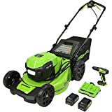 Greenworks 2 x 24V (48V) 20-Inch Brushless Self-Propelled Mower (2) 5Ah USB Batteries and Dual Port Rapid Charger + 24V Brushless Drill / Driver, MO48L4211-D