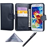 Galaxy S5 Case, Wisdompro Premium PU Leather 2-in-1 Protective Flip/Folio Wallet Case with Multiple Credit Card/ID Card Holder/Slots for Samsung Galaxy S5 -Black w/o Lanyard