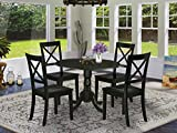 5Pc Rounded 42' Table With Two 9-Inch Drop Leaves And Four Wood Seat Dining Chairs