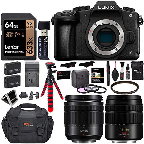 Panasonic LUMIX G85MK 4K Mirrorless Interchangeable Lens Camera Kit, Vario 12-60mm and 45-150mm Lens, Lexar U3 64GB Memory Card, 2 Spare Batteries, Charger, Bag and Accessory Bundle