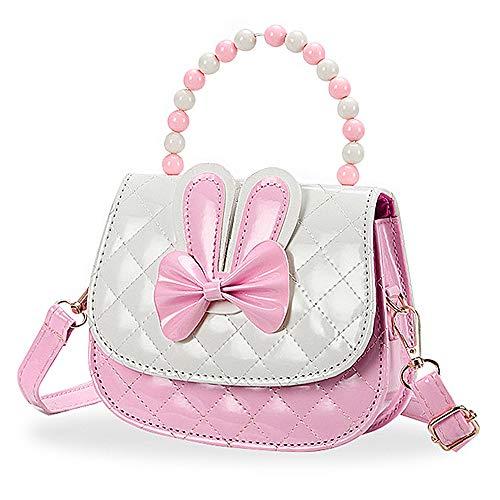Czemo Kinder Umhängetasche Mädchen Handtasche Klein PU Leder Schultertasche Geldbeutel Verstellbarer Schultergurt Kindertasche Mädchen Spielzeug (Rosa)