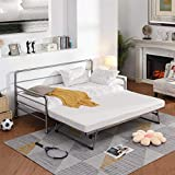 Metal Daybed Twin Bed Frame with Adjustable Pop Up Trundle, Extendable Bed Daybed for Bedroom Living Room, Silver