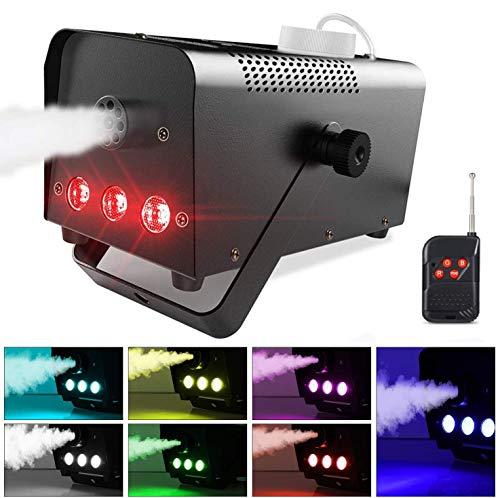 Nebelmaschine, Theefun Rauchmaschine mit 7 farbige LEDs und Kabellos Fernbedienung Nebelmaschine Tragbare Rauchmaschine perfekt für Hochzeiten, Theater Party, Halloween und Bühneneffekt