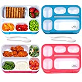 Bento Lunch Box for Adults & Kids 2-Pack - Leak-Proof, BPA-Free, Reusable Bento Box, Spoon, Fork for Portable Healthy Meals - Microwave & Dishwasher Safe 6-Compartment Bento Boxes by PIXI Creations.