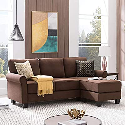 High-quality Suede Fabric: Our sectional sofa couch is made of high quality suede fabric.The fabric feels soft and delicate with bright color.It is not easy to fade,difficult to pilling, good wrinkle resistance. Classic Fully Wrapped Armrest: The sec...