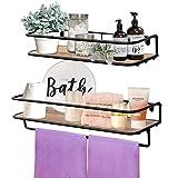 QEEIG Floating Shelves Bathroom Rustic Wall Mounted Shelf with Towel Bar Kitchen Shelving Farmhouse...