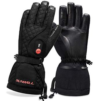 Sun Will Heated Gloves for Men Women,Rechargeable Electric Heating Gloves, Heated Skiing Motorcycle Gloves Battery Rechargeable for Winter Sports