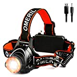 OMERIL Lampe Frontale Puissante,Torche Frontale USB Rechargeable LED CREE XML-T6,2000 LM,3 Modes...