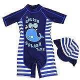 Gogokids Maillots de Bain pour Garçons - Enfants Costume de Natation Une Pièce Combinaison Anti-UV avec Bonnet de Bain,Bleu, S/75-85cm(Taille Fabricant: 3)