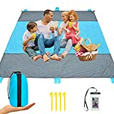 iValley Sand Proof Beach Blanket, 9'x10' Extra Large Compact Beach Mat for 7 Adults Waterproof Picnic Blanket for Camping, Hiking, Travel – Quick Drying Heat Resistant Nylon, 4 Anchor Loops & Stakes